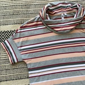 Cable & Gauge Striped Cowl Neck NWT